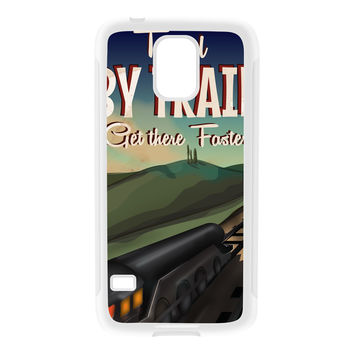 Travel by train White Silicon Rubber Case for Galaxy S5 by Nick Greenaway