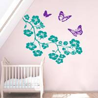 Floral Wall Decals Tree Decal Tree Branch Decor Butterfly Vinyl Sticker Butterflies Art Mural Home Decor Interior Design Bedroom Decor KI128