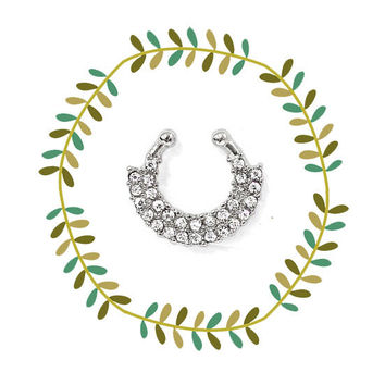 Tribal Jeweled Silver Nose Ring, Boho Clip On Septum Piercing