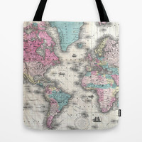 Vintage Map of The World (1852) Tote Bag by BravuraMedia | Society6