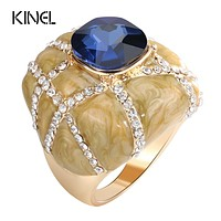 Kinel Unique Big Ring Dubai Fashion Gold Enamel Rings For Women Blue Glass Stone And White Crystal Cross Mosaic Vintage Jewelry
