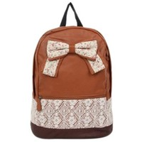 Crazycity New Top Trendy Cute Korean Lace Backpack College Style Leisure Canvas Backpack Gilr's Lovely Bow Rucksack Vintage Floral Print School Bag Retro Sweet Fashionable Outdoor Backpack for Teens Students Women Ladies Girls (Brown)