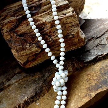White Matte Beaded Necklace