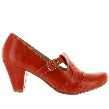 CREYONIG Chelsea Crew Miller - Orange Retro Buckle Pump