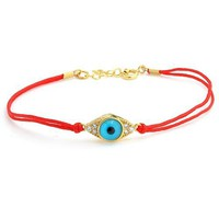 Bling Jewelry 14k Gold Vermeil Red String Evil Eye Bracelet 6.5 in. [Jewelry]