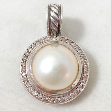 Estate DAVID YURMAN Sterling Silver 18K Pearl Diamond Enhancer Pendant