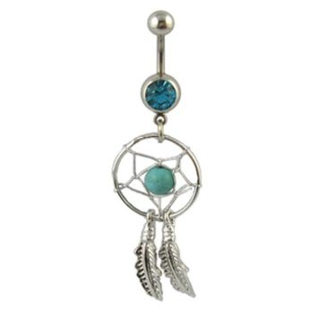 Buy Unique Double Leaves Turquoise Belly Button Ring on Shoply.