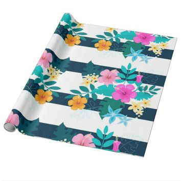 Pretty Strip Flowers Wrapping Paper