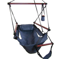 Blue Hanging Adjustable Hammock Chair Swing With Pillow Footrest Drink Holder