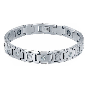 Stainless Steel CZ, Carbon Fiber, and Hematite Magnetic Therapy Bracelet