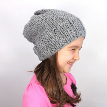 SALE Knit Kids Slouchy Hat /OXFORD/, Unisex Kids Slouchy Beanie, Children Toque, Gift Idea