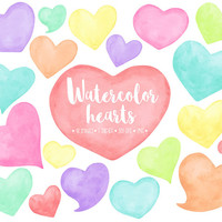 SALE. Watercolor Hearts Clipart. Hand Painted Heart Watercolor Clip Art. Pink, Mint, Peach, Blue, Red Love, Valentines, Mothers Day Clipart.