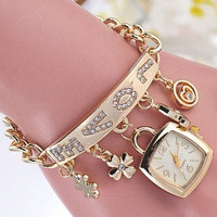 Women's Flower Heart Love Style Rhinestone Stainless Steel Chain Bracelet Wrist Watch = 1705897348