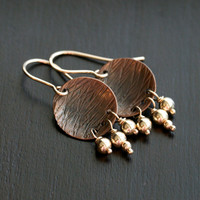 Handmade copper and gold earrings, 14k gold filled, oxidized copper, disc, disk, textured dangle, drop, beaded, Mimi Michele Jewelry
