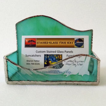 Business Card Holder - Stained Glass - Turquoise Green Swirl - Desk Accessory - Office Decor - Note Pad Holder
