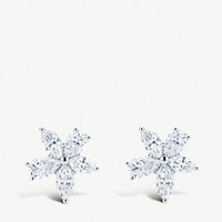 TIFFANY & CO Mixed Cluster platinum and diamond large earrings