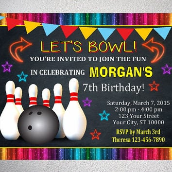 Bowling Party Invitation, Printable Bowling Birthday Party Invitation With Free Thank You Card, Digital Files