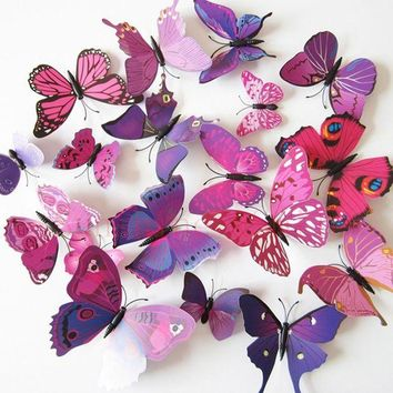 ac DCCKO2Q 12 Pcs/Lot PVC Butterfly Decals 3D Wall Stickers Home Decor Poster for Kids Rooms Adhesive to Wall Decoration Adesivo De Parede