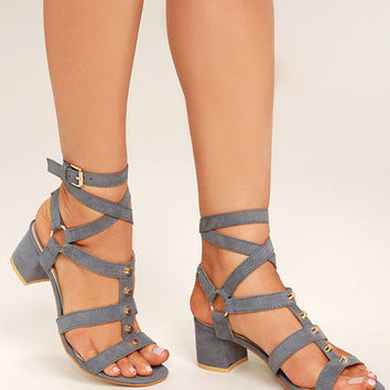 Galina Grey Suede Studded Leg Wrap Heels