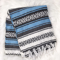 Authentic Mexican Blanket in Light Blue