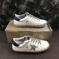 GGDB Golden Goose Uomo Donna Low Top Sneakers With Silver Star Blue Heel - Best Online Sale