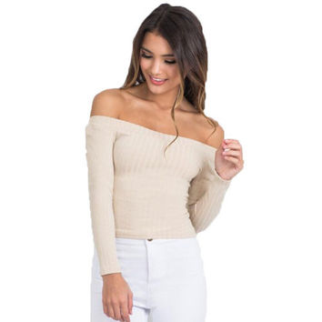 New Casual Knit Slim T-Shirt Slash Neck Autumn Off Shoulder Women Solid T Shirt Tee Long Sleeve Crop Mujer Top Shirts M0523