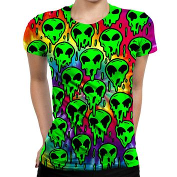 Trippy Green Martian Womens T-Shirt