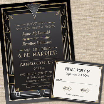 GGreat Gatsby Wedding Invitations with RSVP cards and Envelopes, in Art Deco style in Quantity of 25