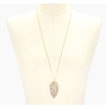 Gold & White Crystal Druzy Arrowhead Pendant Long Necklace