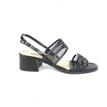 90s Black Mesh Sandals Vintage Chunky Heel Sandals Open Toe Slingback Sandals Minimalist Black Sandals Low Heel Summer Strap Shoes Size 10