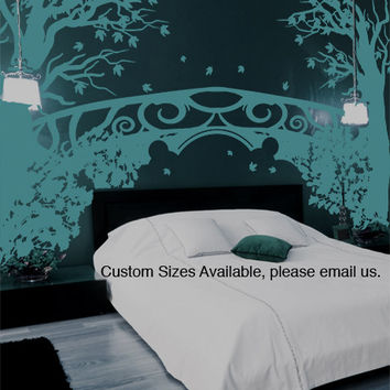Floral Tree Fantasy Bridge Vinyl Wall Decal Sticker #GFoster167