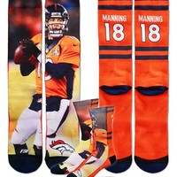 Men's FBF Originals 'Denver Broncos - Peyton Manning' Stripe Socks, Size Large - Orange