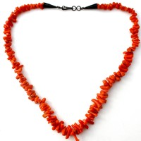 Navajo Red Branch Coral Bead Necklace Vintage 17""