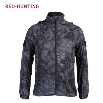 Men's Quick Dry Windstopper Soft Shell Camping Hiking Hooded Jacket Tactical Military Windbreaker Running Lurker Skin Rain Coat