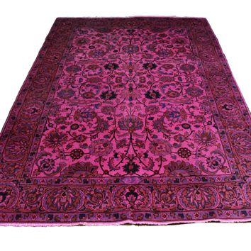 6x9 Overdyed Hot Pink Oriental Semi Antique Rug 2805