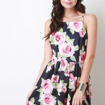 Floral Print Open Back Skater Dress