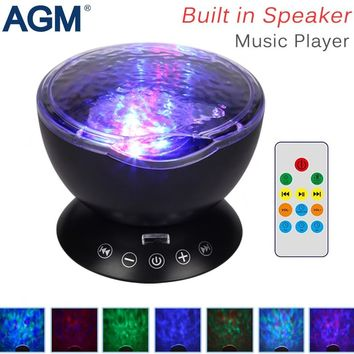LED Night Light Ocean Wave Projector Starry Sky Cosmos Star Lamp Aurora Novelty Baby Nightlight