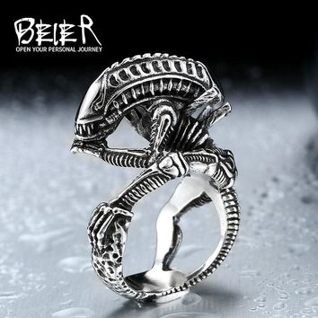 Beier 316L Stainless Steel skull ring Alien Predator Finger Rings For Men Gothic Style Biker Jewelry  LLBR8-358R