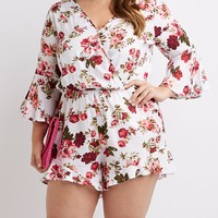 Plus Size Floral Bell Sleeve Romper | Charlotte Russe