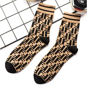 FENDI Autumn Winter Popular Women Men Personality F Letter Cotton Sport Socks Coffee