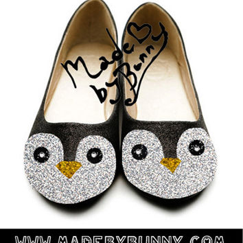 Adorable Penguin flats made with Glitter & Rhinestones / Gunter from Adventure Time