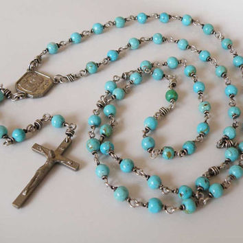Rosary Turquoise gemstone Sterling Silver Padre Pio - wire wrapped - round beads - religious jewelry - handmade