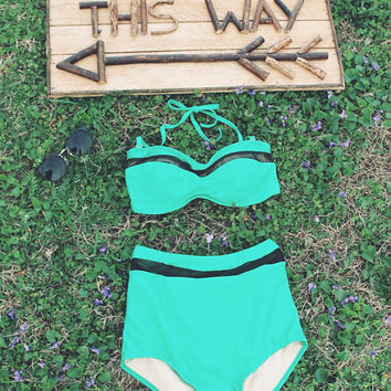 Vintage Inspired High Waisted Bikini With Mesh Inserts.