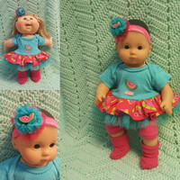 "Baby Doll ""So Sweet"" 15 inch doll outfit Will fit Bitty Baby® Bitty Twins®  dress shorts socks headband watermelons O7"