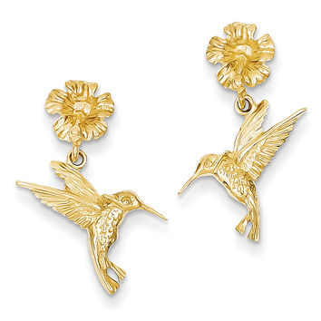 14k Hummingbird Dangles from Flower Post Earrings TC624