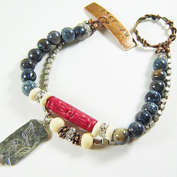 Namaste Stamped Double Strand Bracelet with Ceramic and Trade Beads, Mix Metals, Blue and Red Bracelet, Bohemian Jewelry