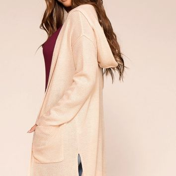 Yadira Champagne Hooded Cardigan