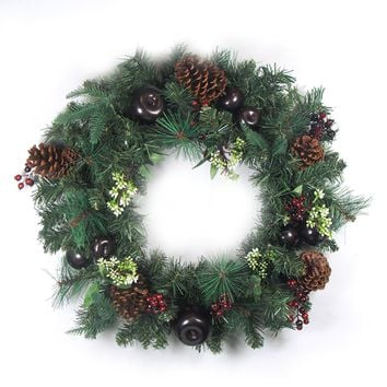 "24"" Pre-Decorated Red Berry Pine Cone Apple Artificial Christmas Wreath -Unlit"