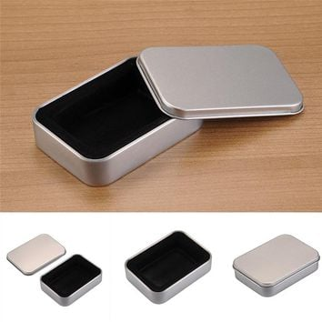 Portable Cigarette Lighter Box Survival Kit Lid Small Empty Flip Metal Storage Box Case Organizer For Money Coin Candy Keys