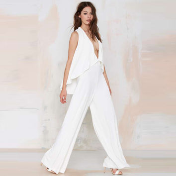 Spring and summer fashion sexy deep V-neck wide leg pants fashion strapless jumpsuit free shipping